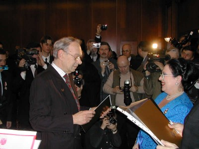H.I.H. the Grand Duchess Maria of Russia presenting Aleksei Vladimirovich Batalov with a patent of hereditary nobility.  Moscow, January 13, 2004.